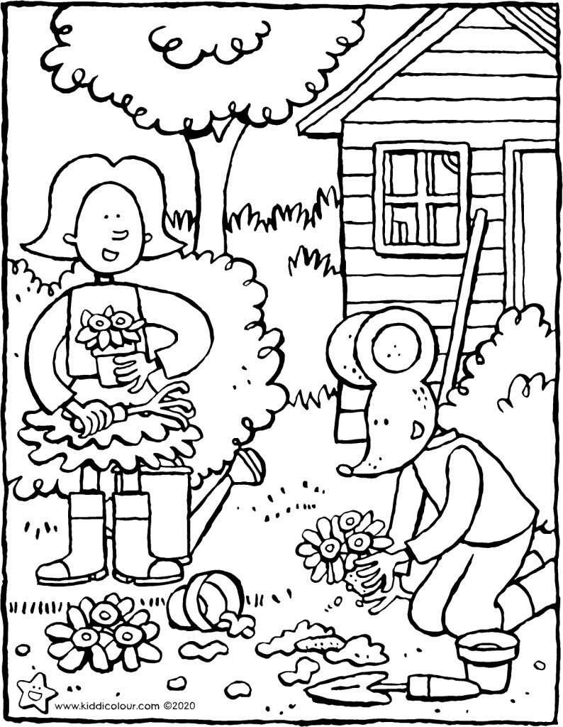 Emma and Thomas plant flowers in the spring colouring page drawing picture 01V
