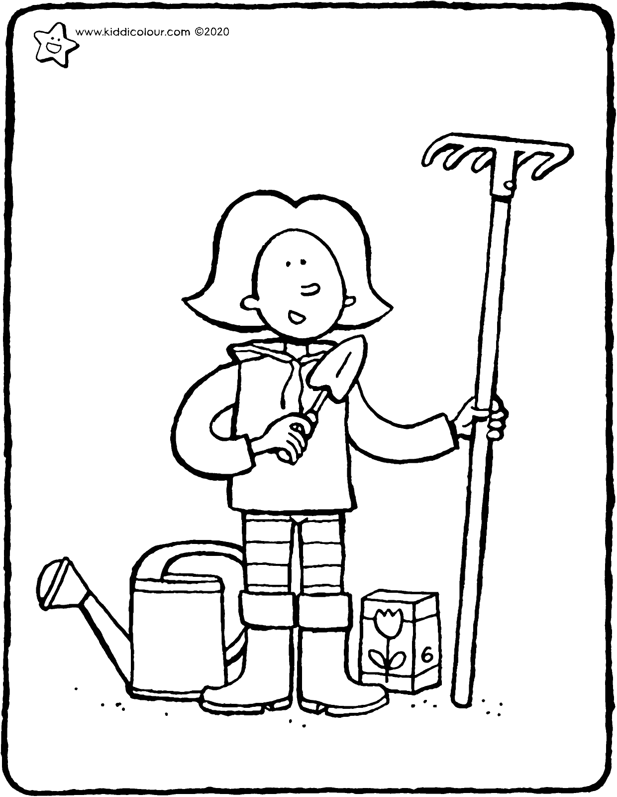 Emma goes to work in the garden colouring page drawing picture 01V