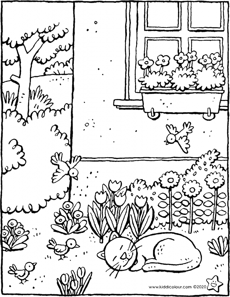 a day in the garden in the spring colouring page drawing picture 01V