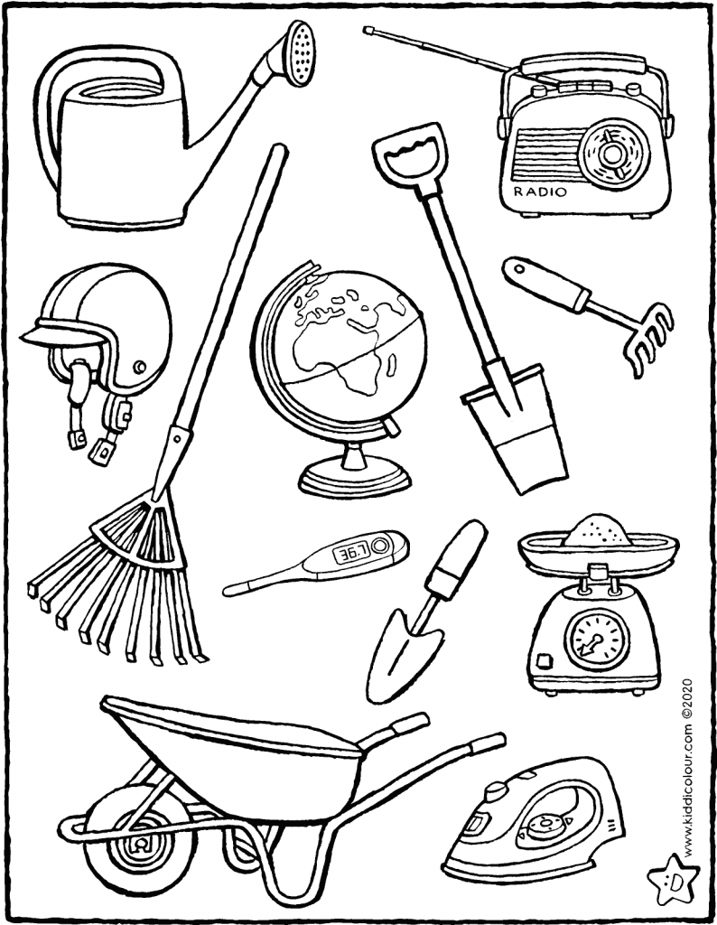 colour in the tools you use in the garden in spring colouring page drawing picture 01H