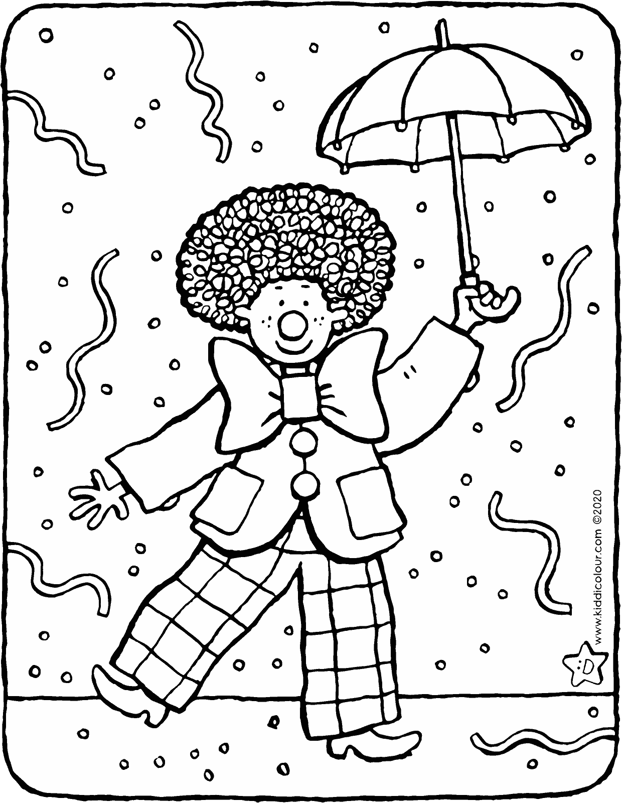 dressed up as a clown for carnival colouring page drawing picture 01V
