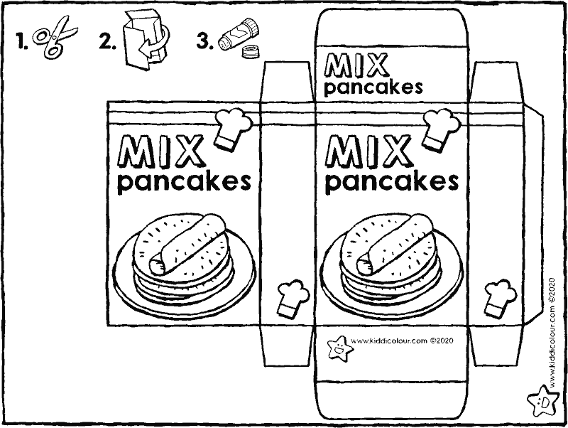 make your own pancake mix packet colouring page drawing picture 01k