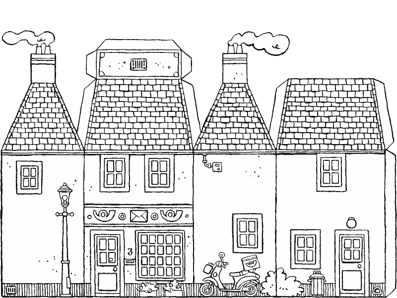 make your own post office colouring page drawing picture 01k