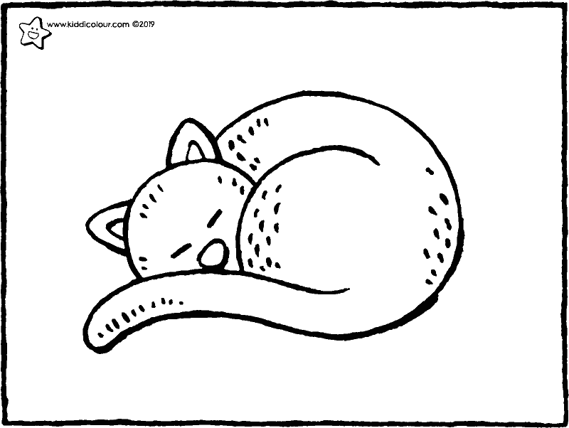 sleeping cat colouring page drawing picture 01k