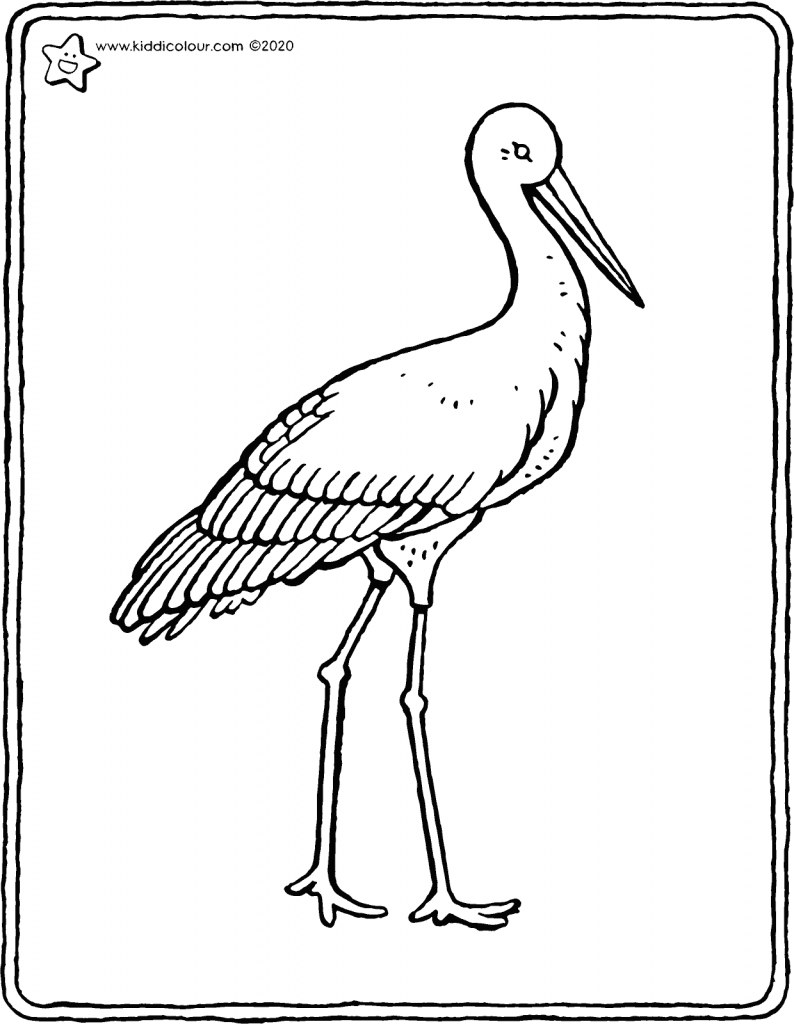stork colouring page drawing picture 01V