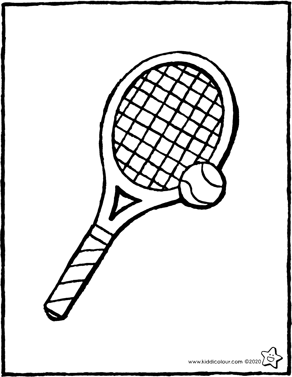 tennis racquet and tennis ball colouring page drawing picture 01V