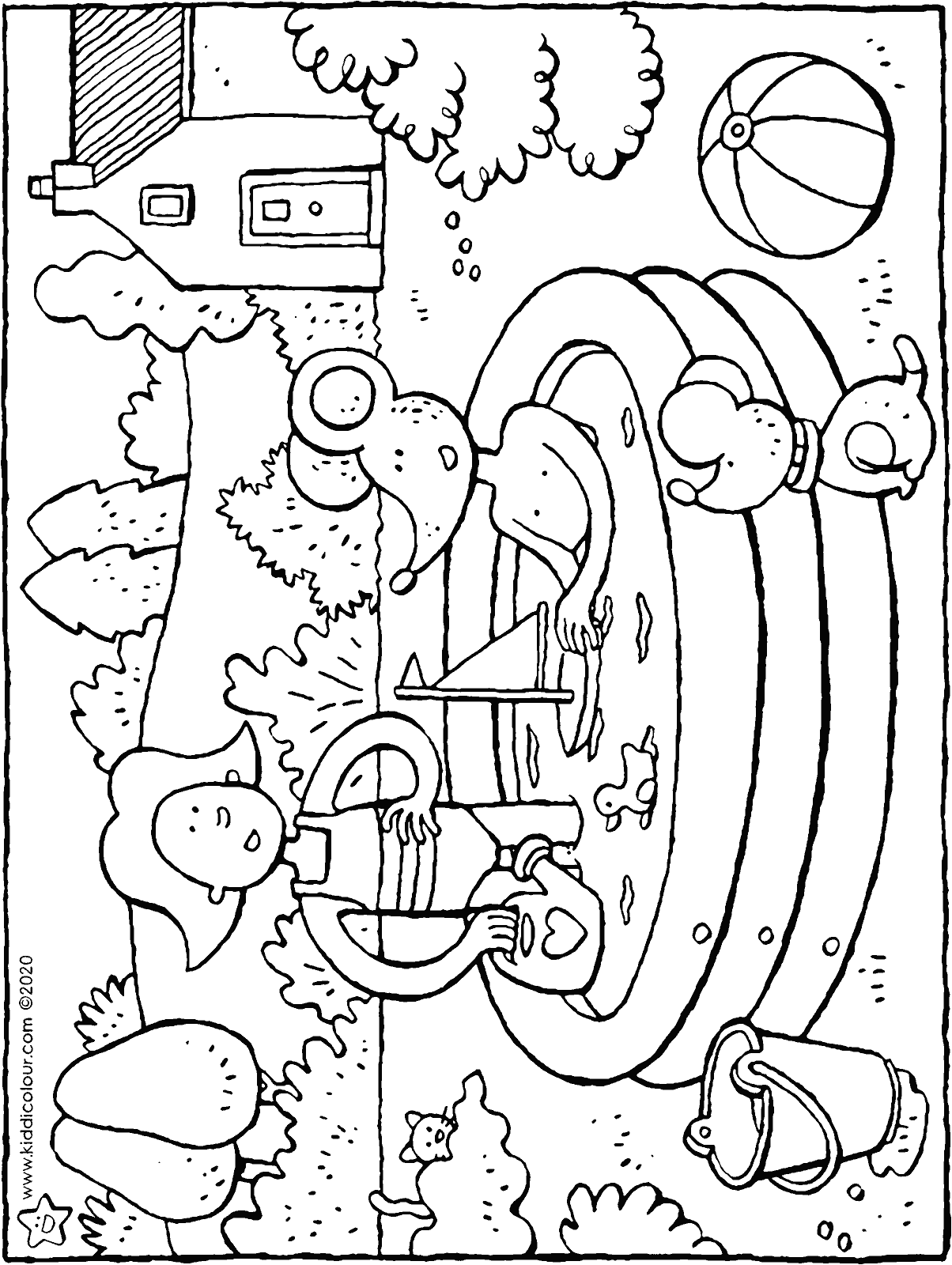 Emma and Thomas play in the paddling pool colouring page drawing picture 01H