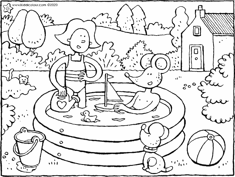 Emma and Thomas play in the paddling pool colouring page drawing picture 01k