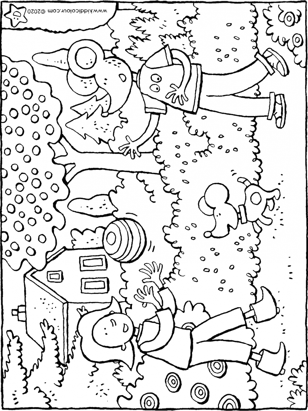 Emma and Thomas play with the ball colouring page drawing picture 01H