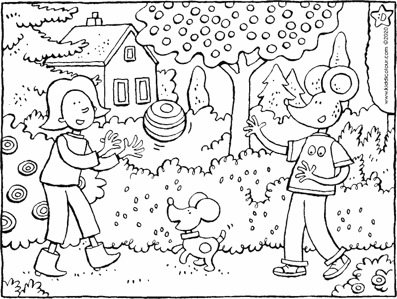 Emma and Thomas play with the ball colouring page drawing picture 01k