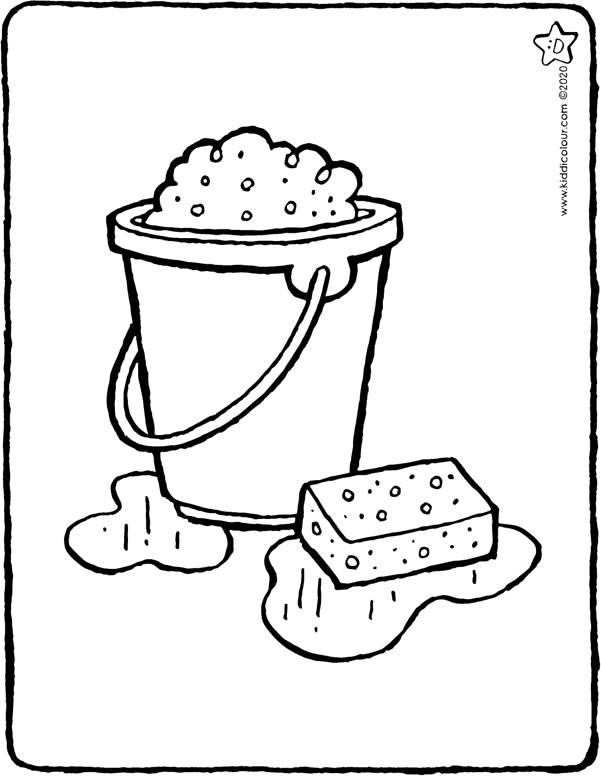 bucket with sponge colouring page drawing picture 01V