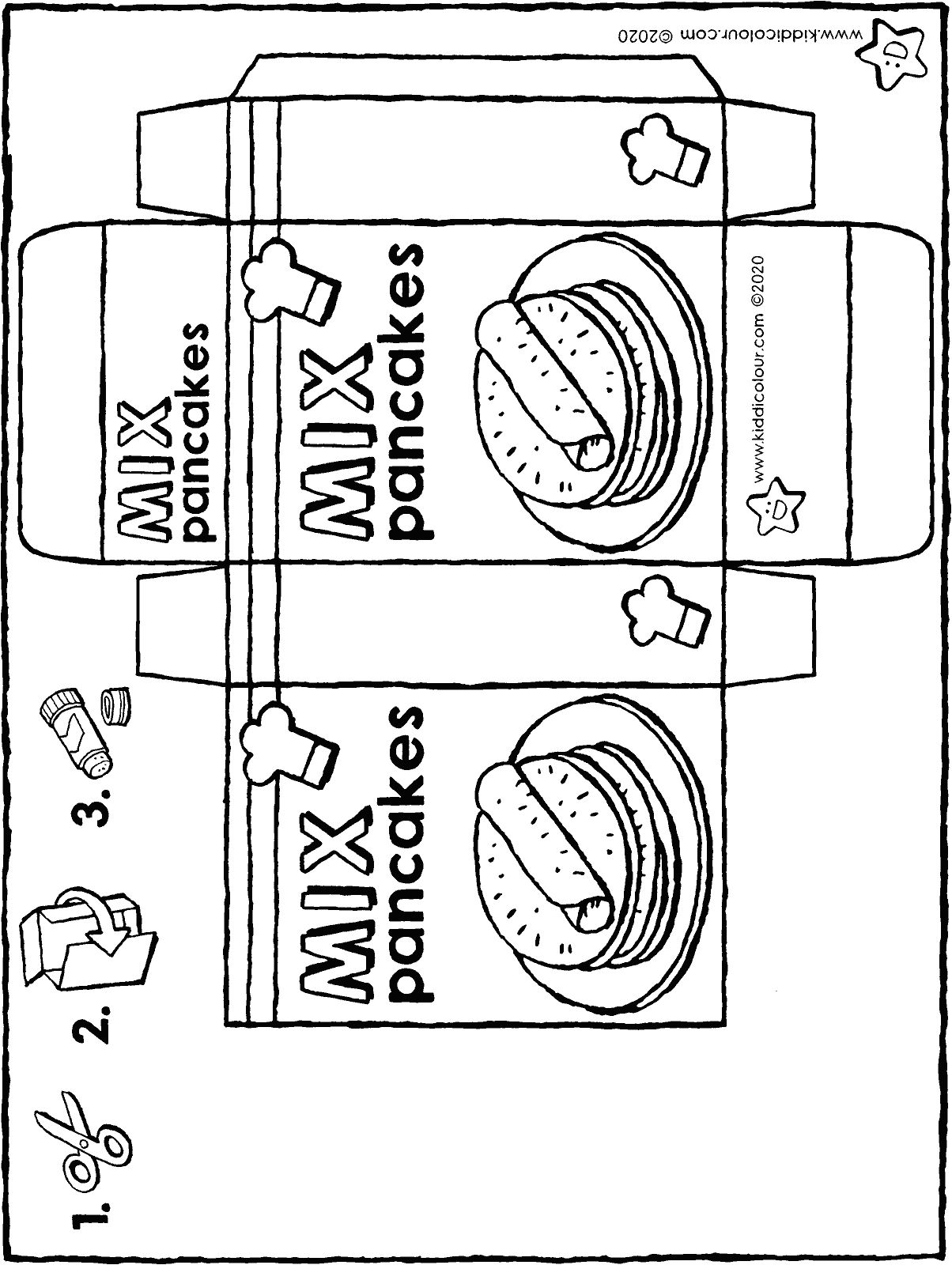 make your own pancake mix packet colouring page drawing picture 01H