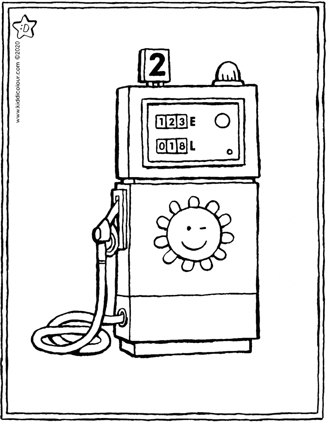 petrol pump colouring page drawing picture 01V