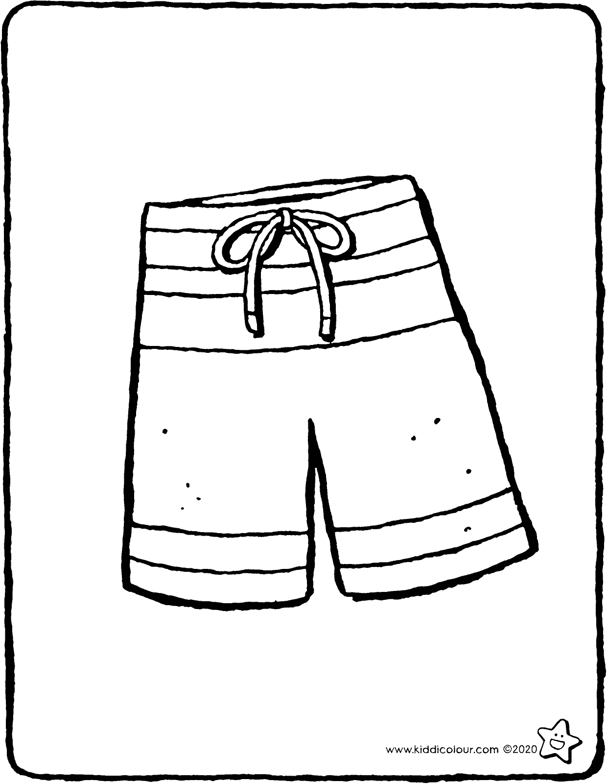 swimming shorts colouring page drawing picture 01V