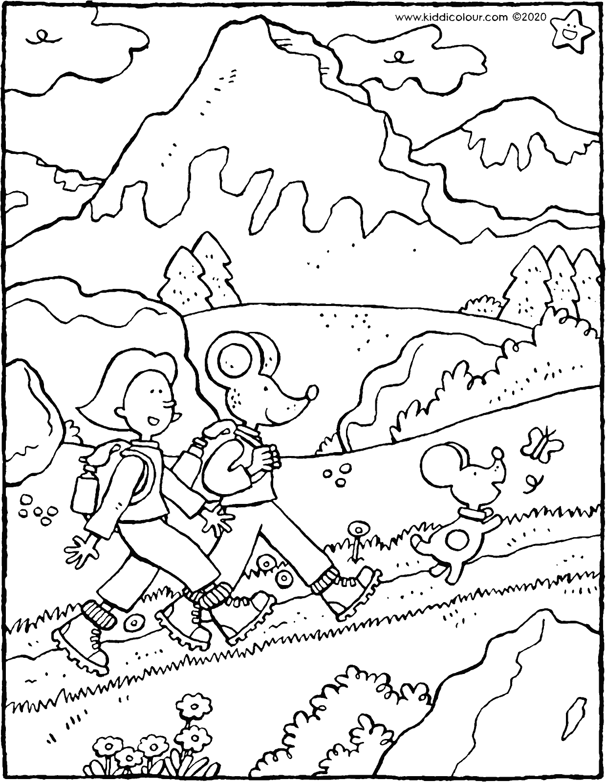Emma and Thomas walking in the mountains colouring page drawing picture 01V