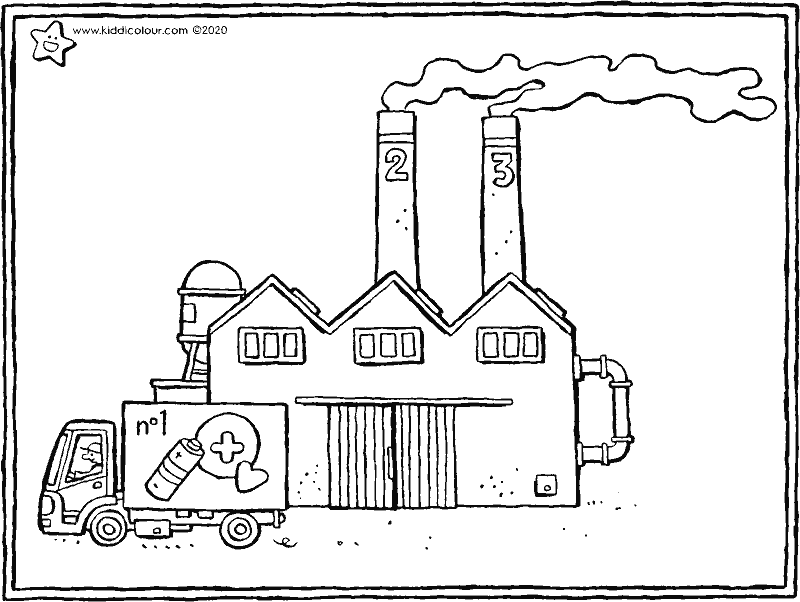factory building colouring page drawing picture 01k