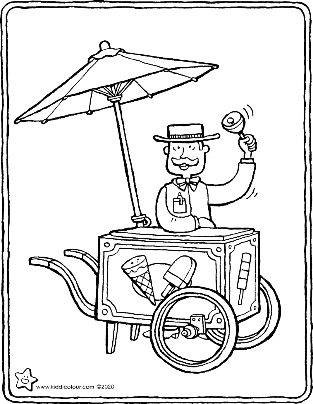 ice cream seller colouring page drawing picture 01V