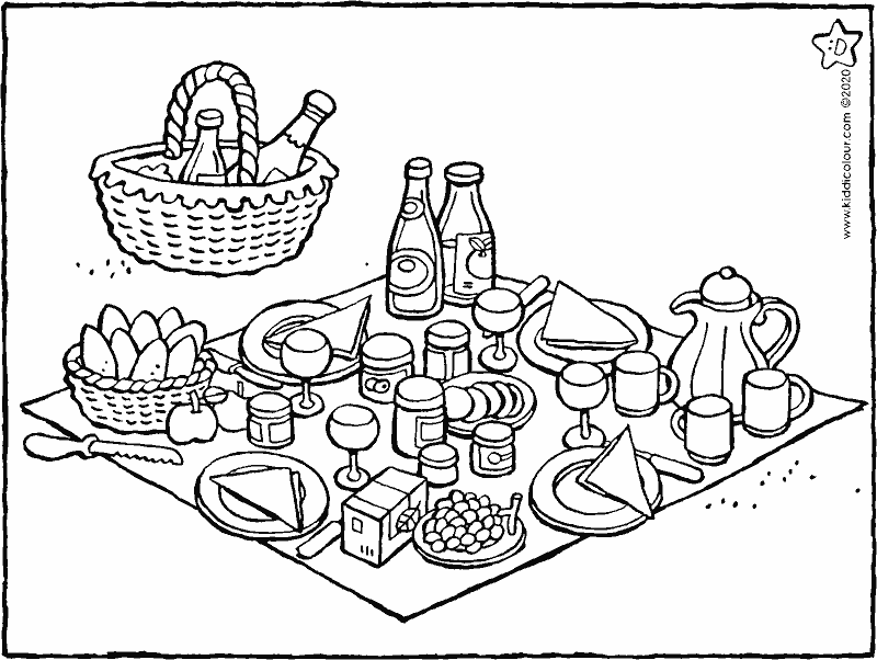 picnicking in the summer colouring page drawing picture 01k