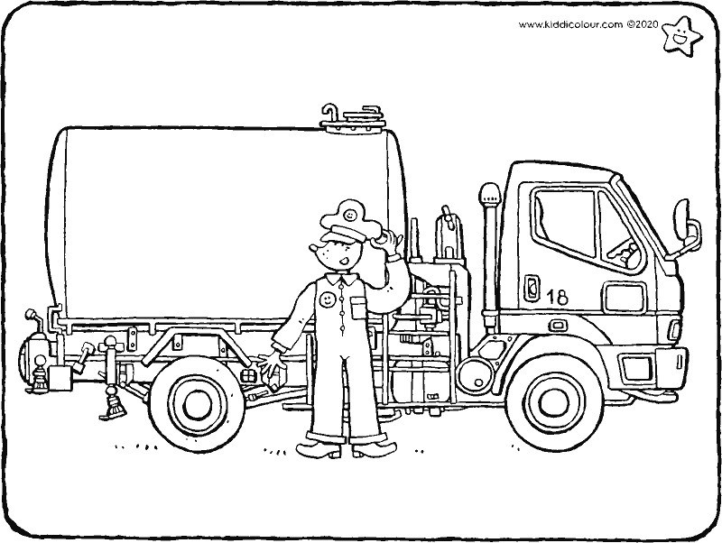 tanker colouring page drawing picture 01k
