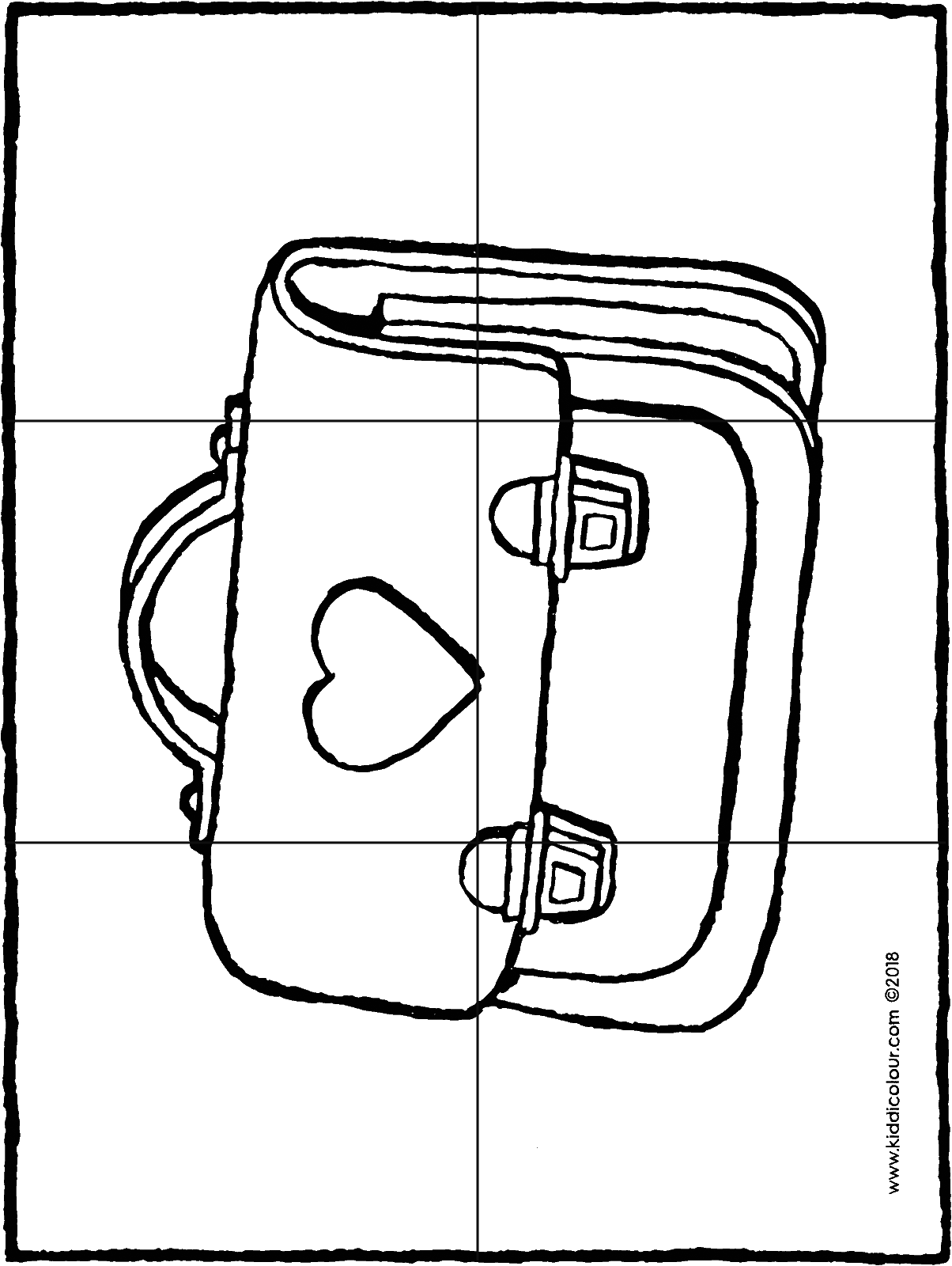 6-piece school bag puzzle colouring page drawing picture 01H