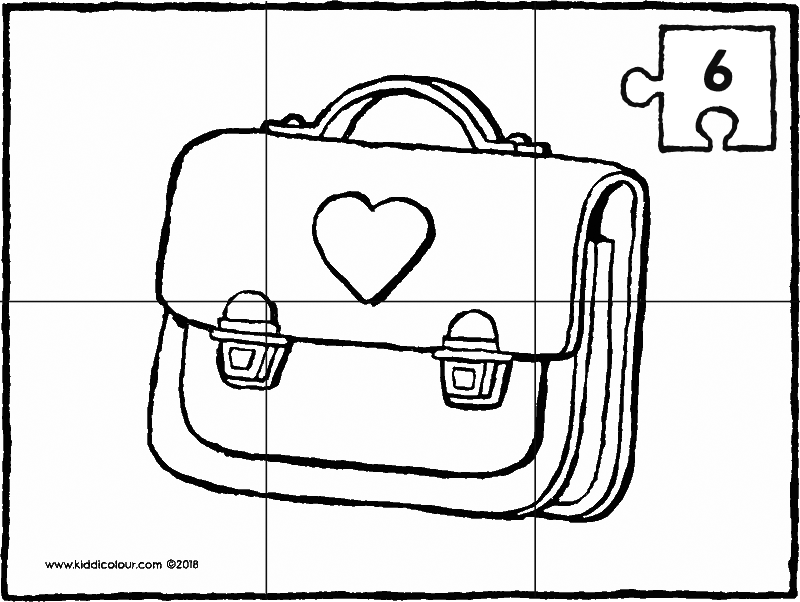 6-piece school bag puzzle colouring page drawing picture 01k