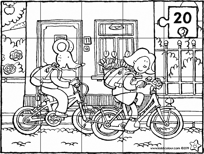 Emma and Thomas cycling to school 20-piece puzzle colouring page drawing picture 01k