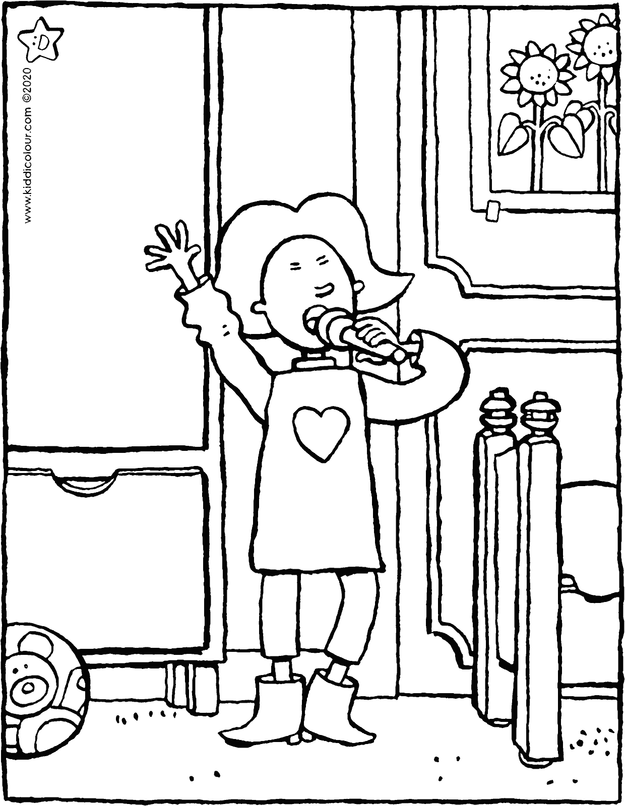 Emma singing in the bedroom colouring page drawing picture 01V