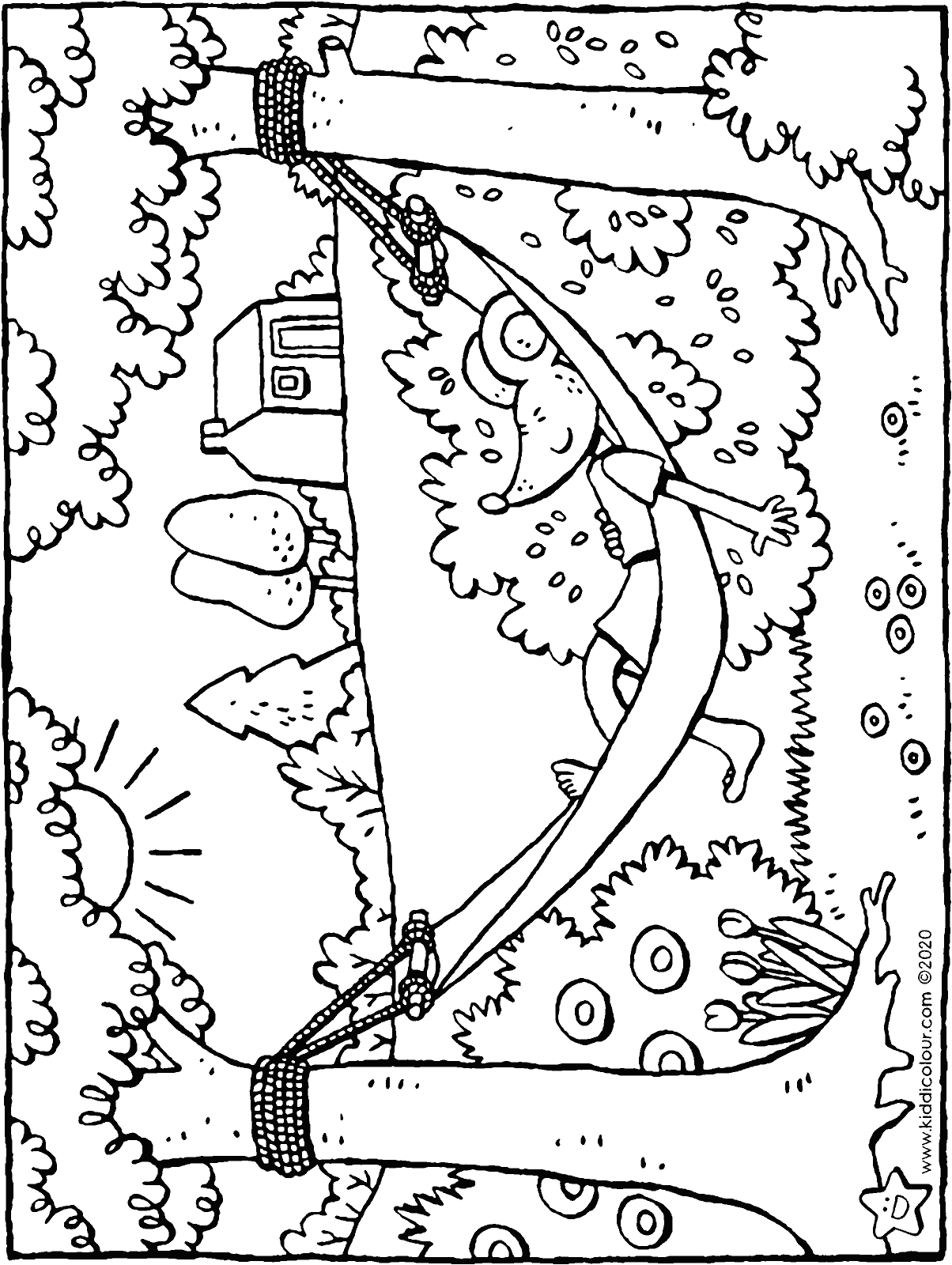 Thomas in a hammock colouring page drawing picture 01H