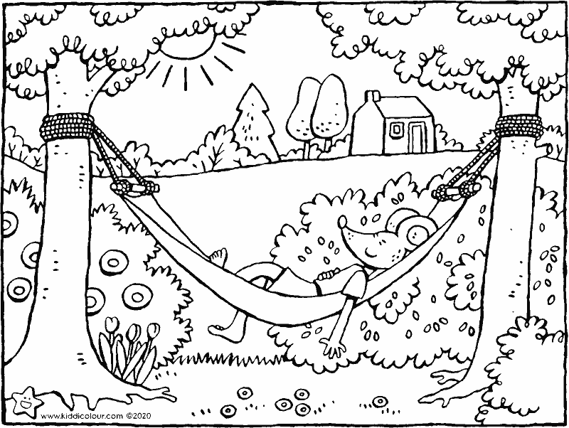 Thomas in a hammock colouring page drawing picture 01k