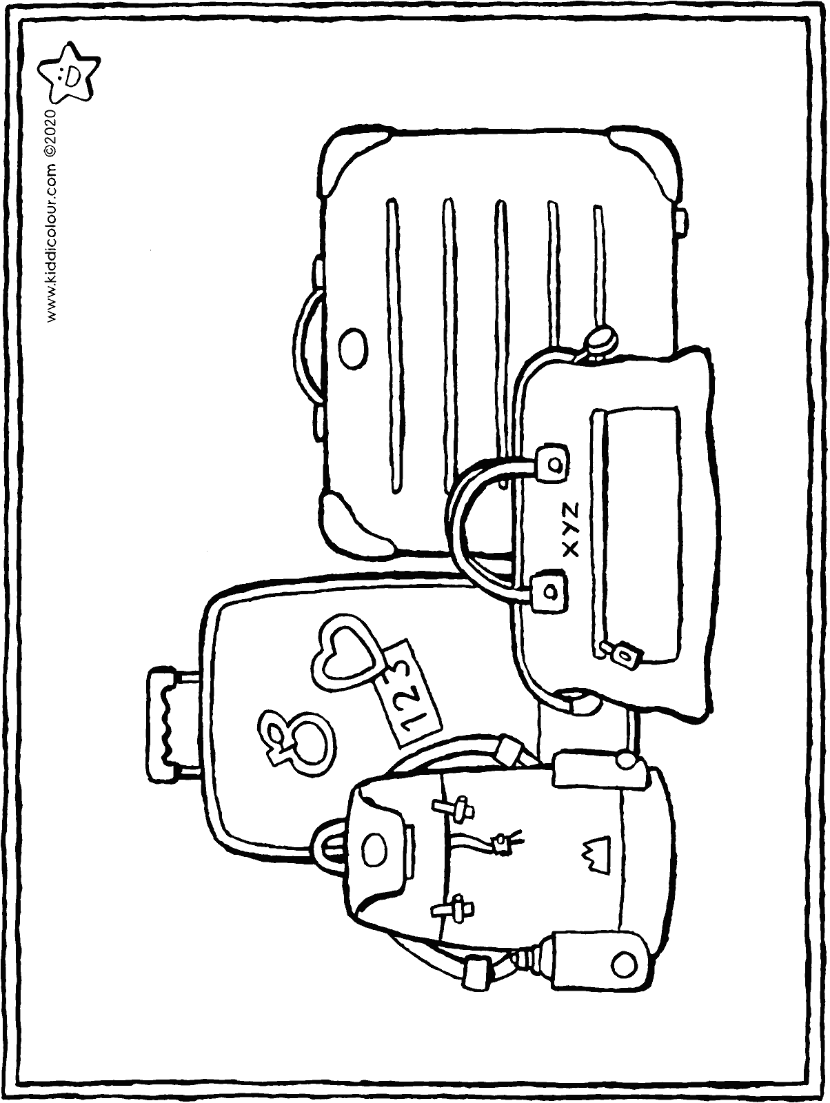 luggage colouring page drawing picture 01H