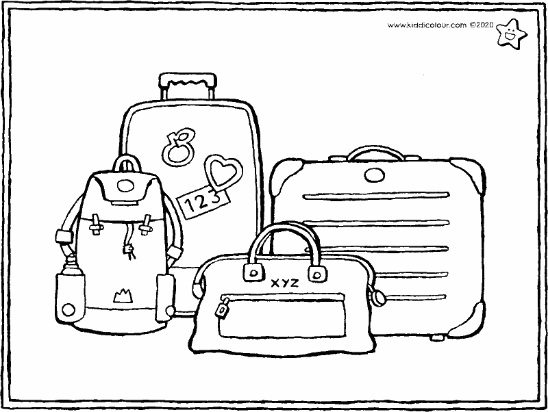 luggage colouring page drawing picture 01k