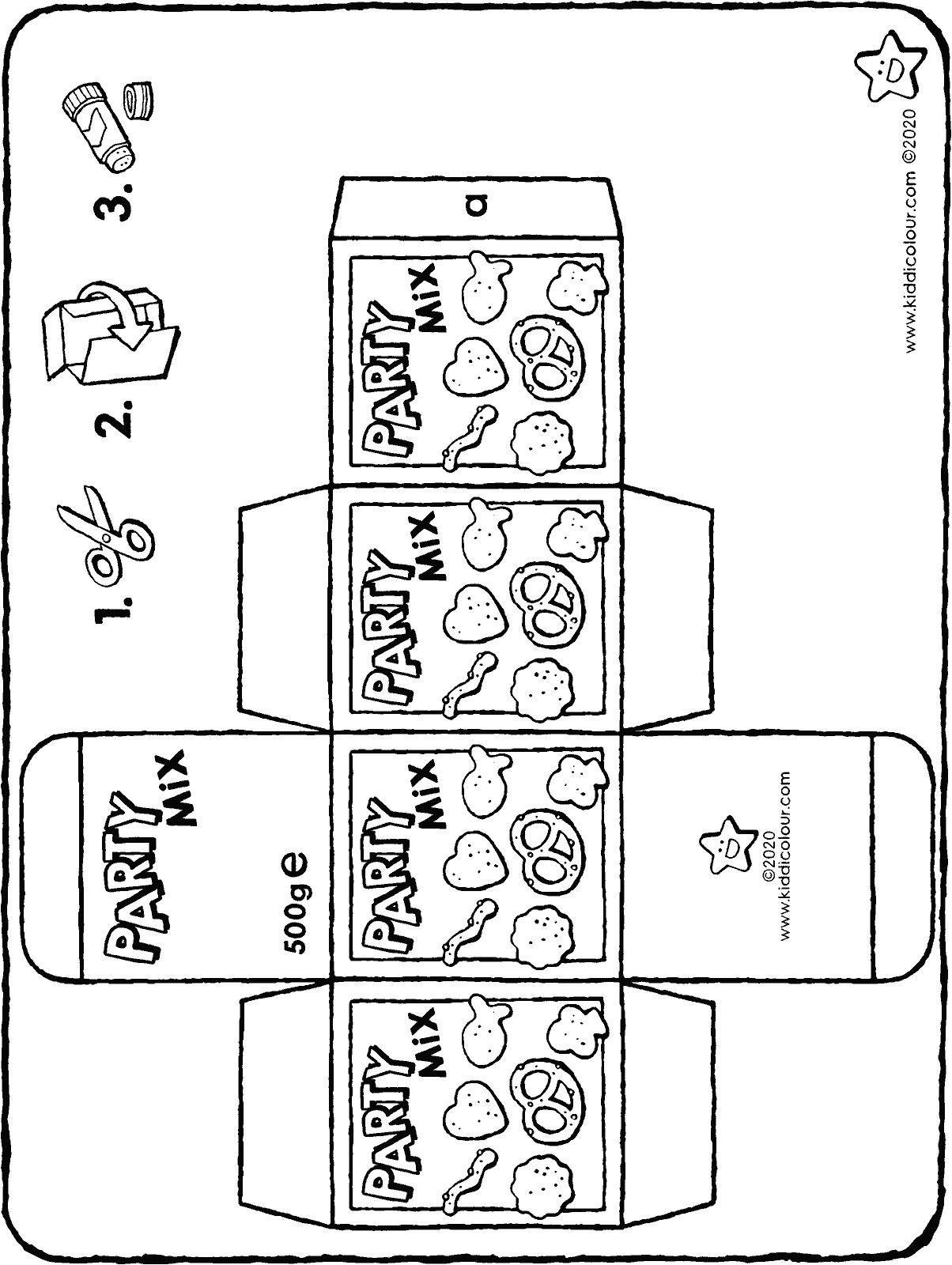 make your own party mix packet colouring page drawing picture 01H
