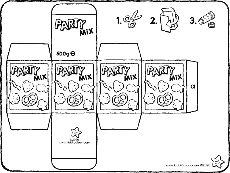 make your own party mix packet colouring page drawing picture 01k