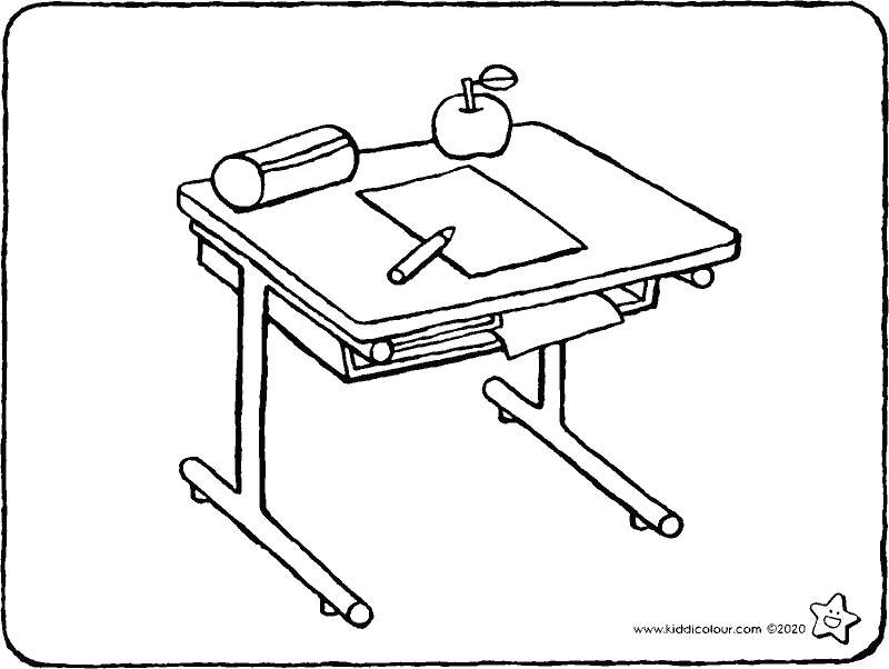 school desk colouring page drawing picture 01k