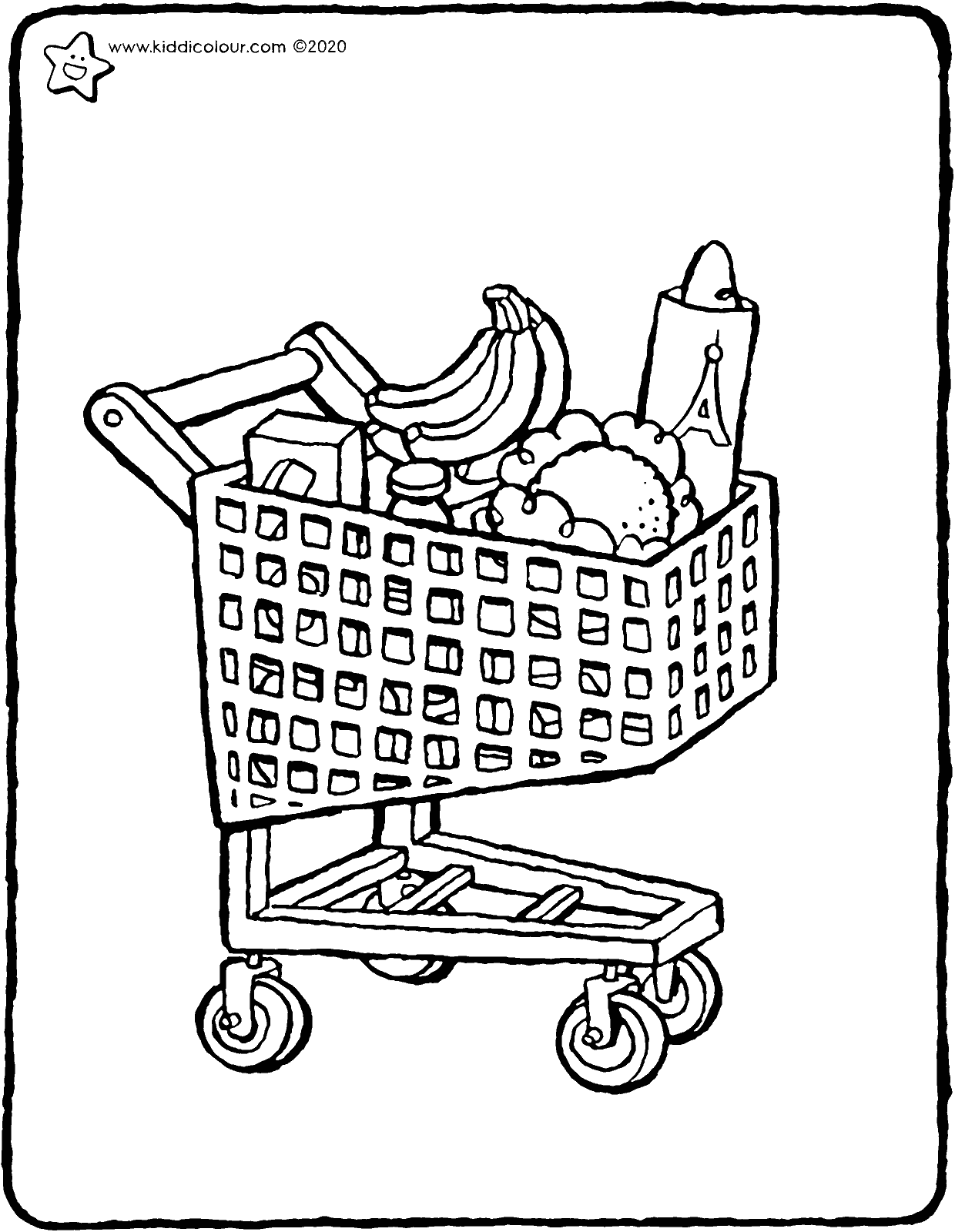 shopping trolley with shopping colouring page drawing picture 01V