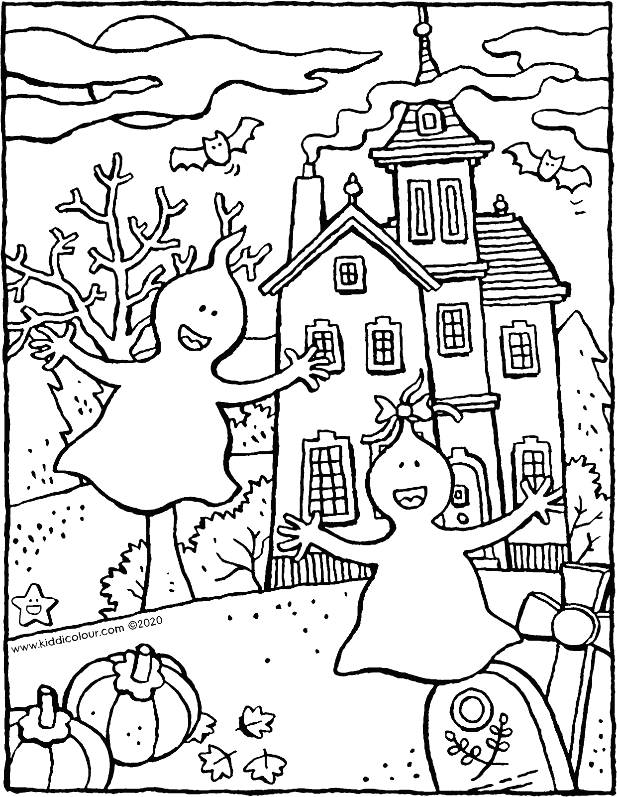 2 ghosts dance in the night colouring page drawing picture 01v