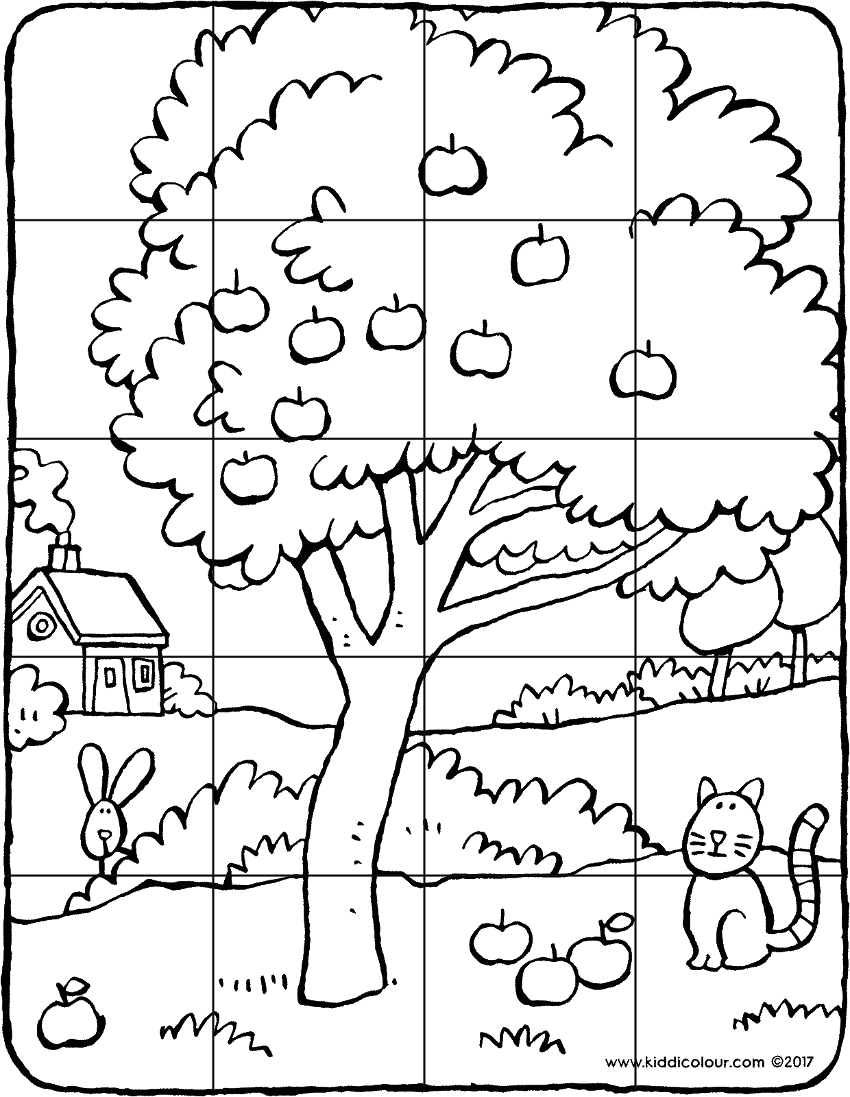 20-piece apple tree puzzle colouring page drawing picture 01V