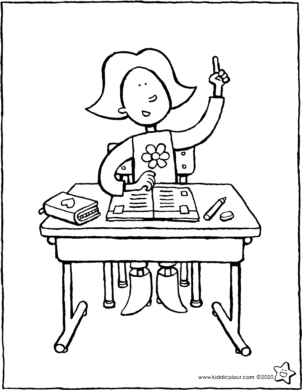 Emma at her school desk colouring page drawing picture 01V