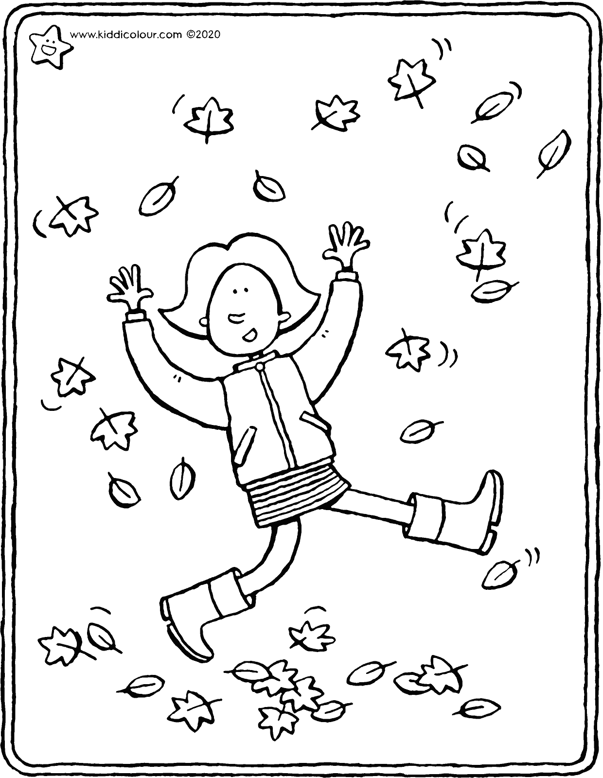 Emma enjoys the autumn leaves colouring page drawing picture 01V