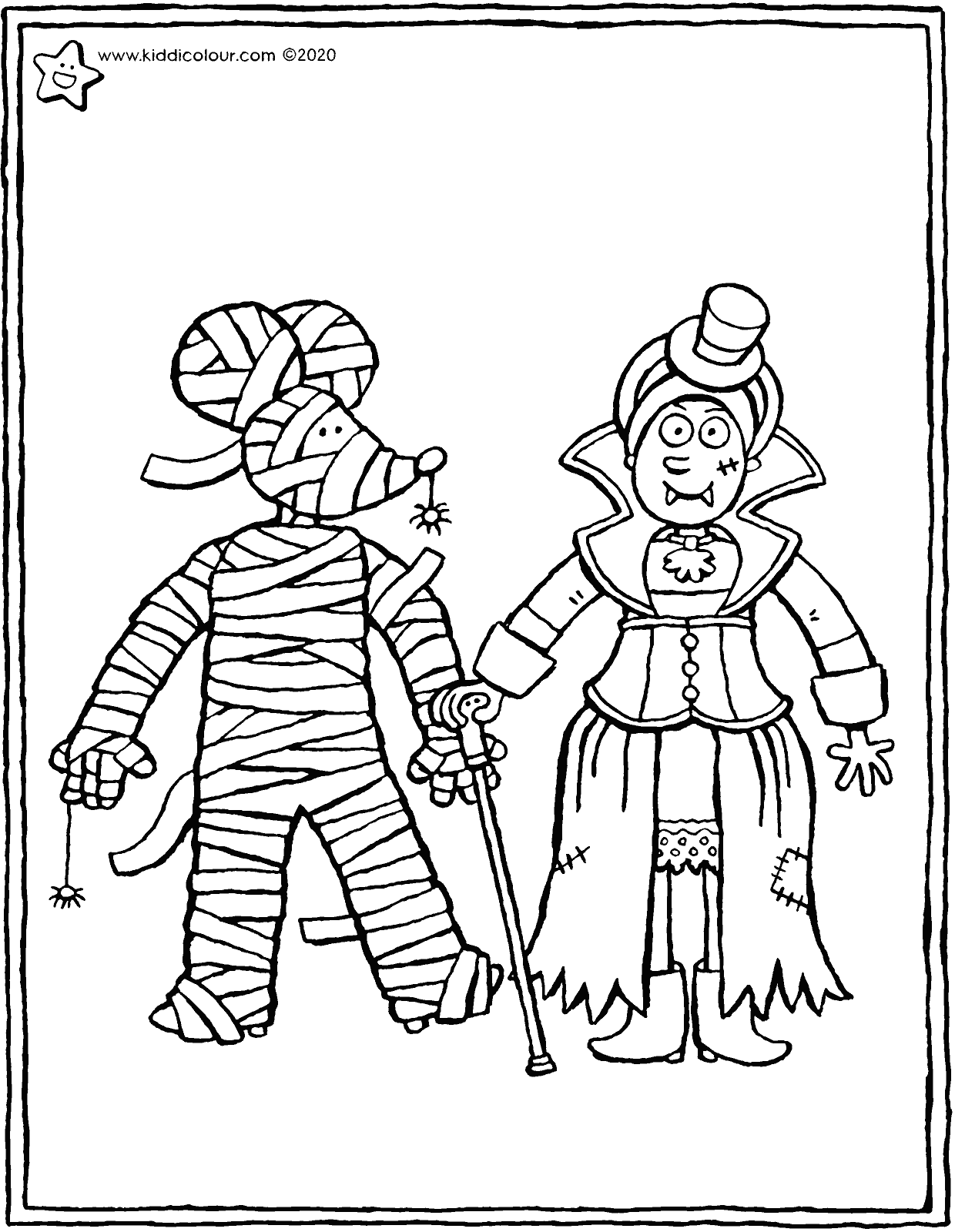 Halloween mummy and vampire colouring page drawing picture 01V