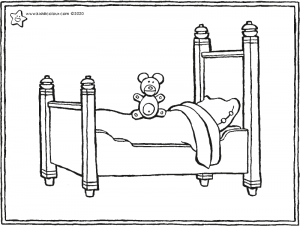 a bed and a teddy