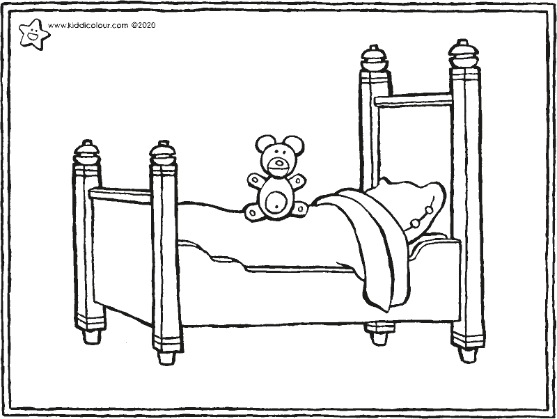 a bed and a teddy colouring page drawing picture 01k