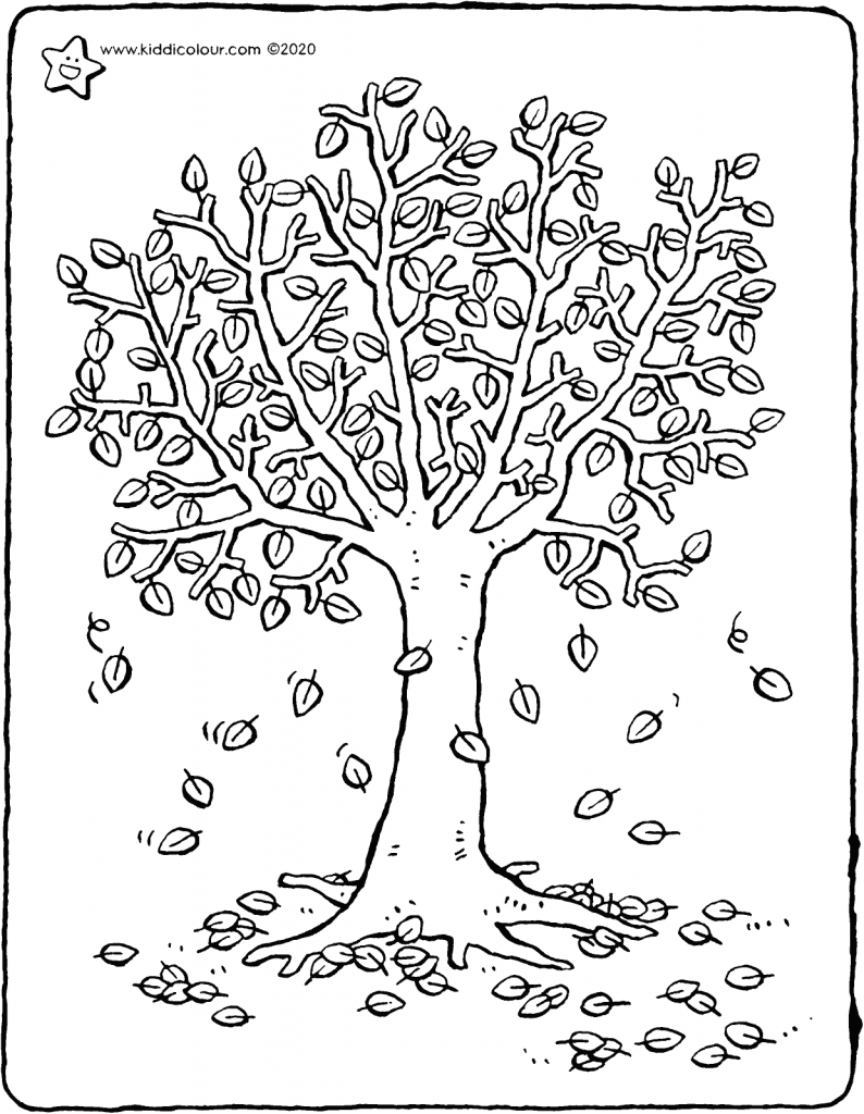 a tree loses its leaves in autumn colouring page drawing picture 01V