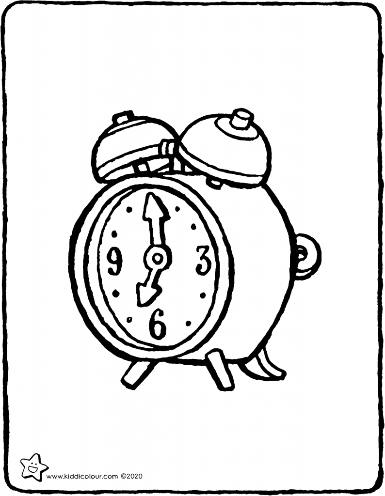 alarm clock colouring page drawing picture 01V
