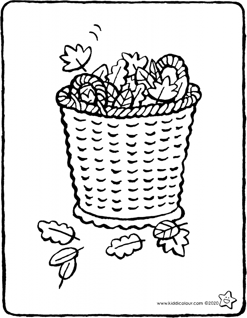 basket of autumn leaves colouring page drawing picture 01V