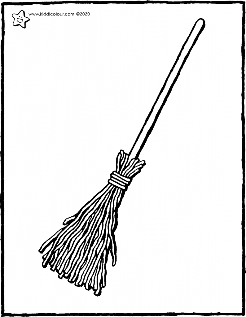 broom colouring page drawing picture 01V