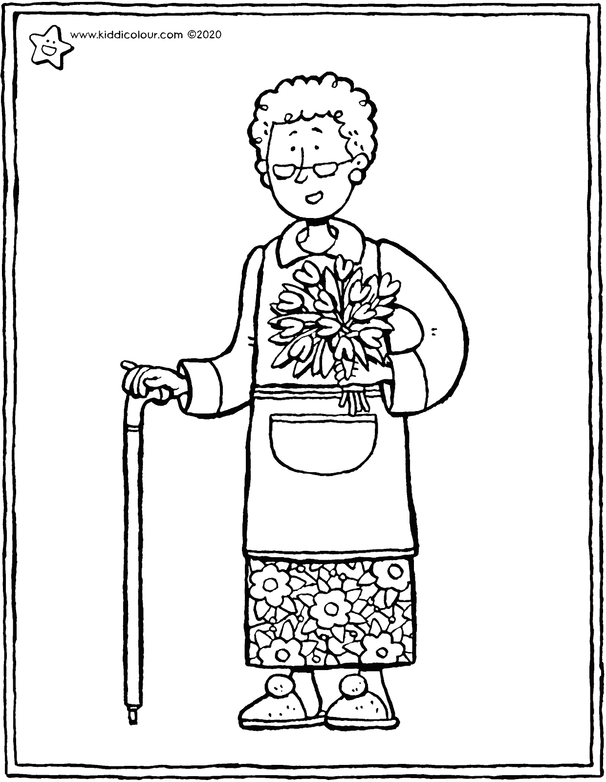 darling granny colouring page drawing picture 01V