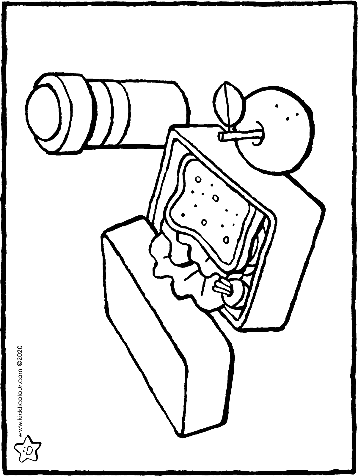 lunch box colouring page drawing picture 01H