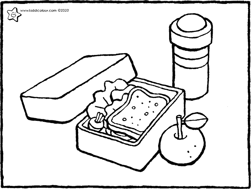 lunch box colouring page drawing picture 01k