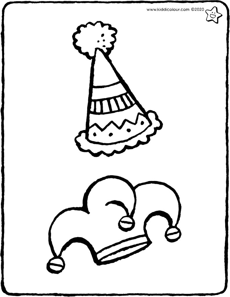 party hats colouring page drawing picture 01V